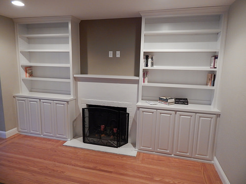 This Is A Set Of White Cabinetry For Either Side Of The Fireplace, And A  Mantle Shelf.